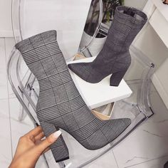 Plus Size Women High Heel Boots Fashion Plaid Pointed Toe Thick High Heel . - Plus Size Women High Heel Boots Fashion Plaid Pointed Toe Thick High Heel Boots Autumn Causal Dress Booties Heel Source by - Cute Shoes, Women's Shoes, Shoe Boots, Ankle Boots, Dress Shoes, Golf Shoes, High Heel Sneakers, Jeans Shoes, High Shoes