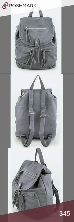 "Grey backpack purse Length - 17"" Width - 7"" Height - 16"" Zip Closure Faux Leather New Bags Backpacks"