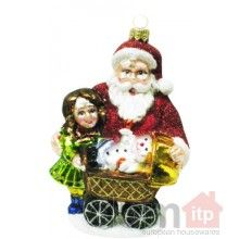 """Christmas Tree Ornament - Santa Claus with Children.5"""" x 3.5"""". Hand painted and decorated in Poland."""