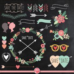 "Chalkboard Wedding Clipart""CHALKBOARD WEDDING"" clip art,Laurels Clip Art,Floral Frames,Wreath,Wedding invitaion Instant Download Wd017."