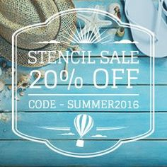 HUGE Summer Stencil Sale! Take 20% off during checkout using the code sUMMER2016 from June 14th through June 20th 2016. www.cuttingedgest...