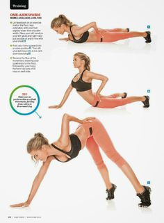"Muscle & Fitness Magazine: "" One Arm Worm Lie facedown on an exercise mat or the floor, legs extended, with your feet slightly wider than shoulder width. Place your left hand on your left glute and. Tracy Anderson Workout, Sport Fitness, Muscle Fitness, Yoga Fitness, Abdominal Exercises, Thigh Exercises, Bodybuilding Training, Bodybuilding Workouts, Personal Training Programs"