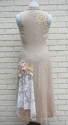 Boho Women's Long Jacket Dress Tunic Shabby by GallimaufryClothing, $62.00