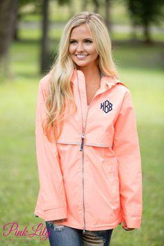 Monogrammed New Englander Rain Jacket Neon Peach