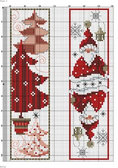 Cross stitch bookmarks - christmas gnomes and tree ricamo a punto croce, segnalibri punto croce Xmas Cross Stitch, Cross Stitch Bookmarks, Cross Stitch Books, Cross Stitch Kits, Cross Stitch Charts, Cross Stitch Designs, Cross Stitching, Cross Stitch Embroidery, Embroidery Patterns