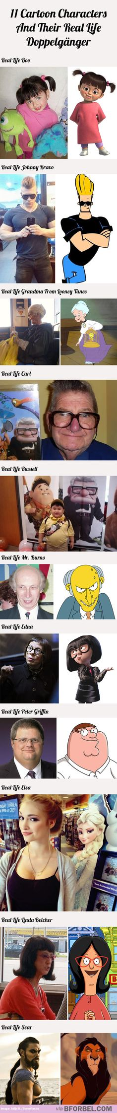 11 cartoon characters and their real life doppelgänger