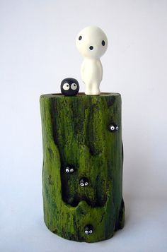 Princess Mononoke KODAMA Teak Wood VASE from Studio Ghibli film 20