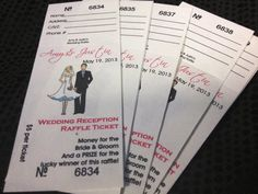 Looking for a modern alternative to the dollar dance? Have a 50/50 raffle...the bride & groom and a lucky guest will leave happy! Custom Raffle Tickets from MyScratchOffLabels.com  #ebay
