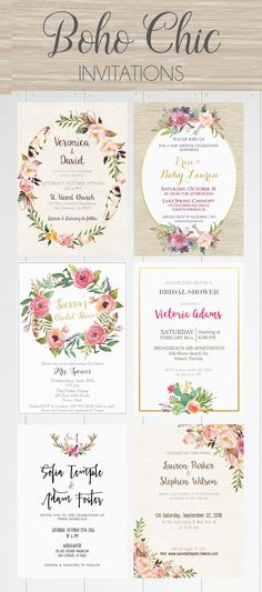 Beautiful Boho Chic Invites! ♥ Today we're sharing the most amazing boho chic… - The latest in Bohemian Fashion! These literally go viral!