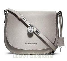Michael Kors Pearl Grey Large Hamilton Saffiano   Messenger Crossbody  Bag  NWT #MichaelKors #MessengerCrossBody