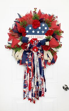 Patriotic  Wreath, 4th of July Wreath, Patriotic Decor, Americana Decor, Independence Day Wreath,Summer Wreath, Rag Bow Wreath Thanksgiving Wreaths, Holiday Wreaths, Holiday Decor, Patriotic Wreath, 4th Of July Wreath, Desserts Valentinstag, Americana Crafts, 4th Of July Decorations, Summer Wreath