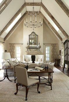 Living room - elegant - symmetry - neutral color palette - beautiful vaulted ceiling | Frank Ponterio Interior Design