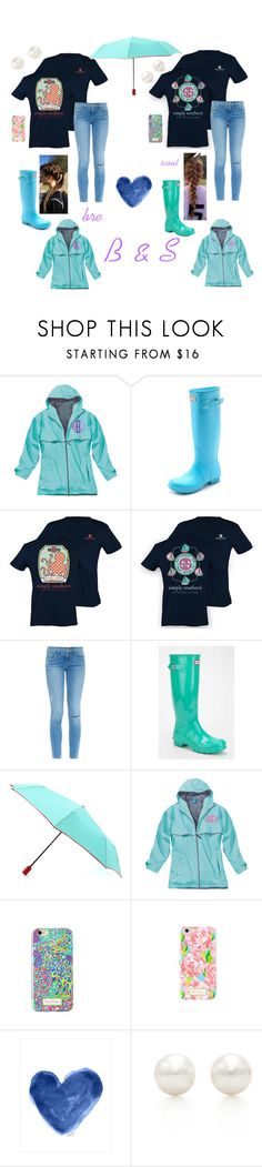 """rainy day preppin'"" by berkeleys12 ❤ liked on Polyvore featuring Hunter, Frame Denim, Lilly Pulitzer, Tiffany & Co., Accessorize, friends, preppy and rainyday"
