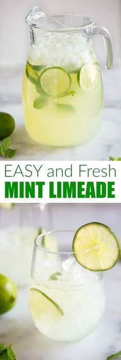 Sparkling Mint Limeade - - Sparkling Mint Limeade We Love Food A Homemade Sparkling Mint Limeade recipe with fresh squeezed limes and mint leaves. We love this cool and refreshing summer beverage! Lime Recipes, Summer Recipes, Recipes With Fresh Mint, Recipe For Mint, Fruit Drinks, Yummy Drinks, Alcoholic Drinks With Mint, Healthy Cocktails, Fruit Juice