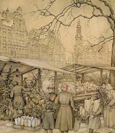 Anton Pieck (Dutch, 1895–1987) The Flowermarket At The Singel In Amsterdam Around Christmas Time