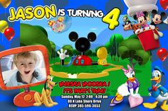 Mickey Mouse Clubhouse Party Birthday  Photo Invitations Printable - custom personalized 1st first baby. $11,99, via Etsy.    http://www.etsy.com/listing/105495698/mickey-mouse-clubhouse-party-birthday?ref=sr_gallery_30_search_query=invitation+mickey+mouse+photo_order=most_relevant_view_type=gallery_ship_to=US_page=15_item_language=en-US_search_type=all_facet=invitation+mickey+mouse+photo#