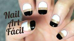 Decoración de uñas blanco y negro | paso a paso