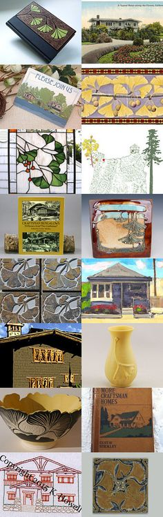 Ginkgos and Bungalows by allan elliott on Etsy--Pinned with TreasuryPin.com   Scott Draves Door Pottery   Carol Long   Jonathan Day   Gamble House   Arts and Crafts   Embroidery   Gustav Stickley Prairie Bungalow   Books    Fay Jones Day