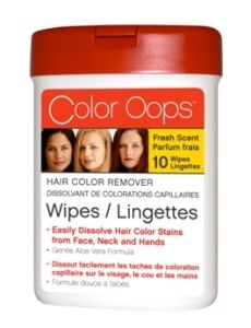 Color Oops Hair Color Remover Wipes are a new quick and easy way to dissolve away hair color stains on face, neck and hands. Color Oops Wipes have a clean fresh scent and gentle aloe vera formula, with no harsh odours.