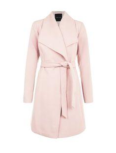 Manteau rose croisé à ceinture | New Look