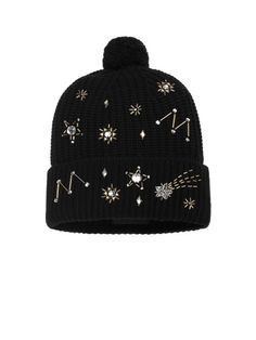 Black Constellations Embellished Knit Beanie