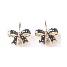 Polka Dot Bow Earrings Yellow Fish Apparel Sty 2040 | eBay via Polyvore