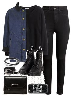 """Outfit with a black jumper and jeans for winter"" by ferned on Polyvore featuring H&M, Forever 21, Dr. Martens, Topshop, ASOS, Mackage and Casetify"