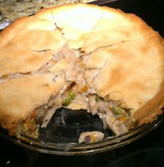 Chicken, Crayons, and Diapers: Easy Peasy Chicken Pot Pie Crystal does: 1 package of 2 ready made deep dish pie crusts.1 can cream of chicken soup. 1 can veg-all, drained. 1 small can chicken, drained. 1/3 cup sour cream. 2 tsp poppy seeds (optional). Combine  ingredients put into pie crusts. Carefully remove 2nd pie crust from tin and lay over pie. Poke holes in top crust with fork. Bake at 400 for 45 min-1 hour.