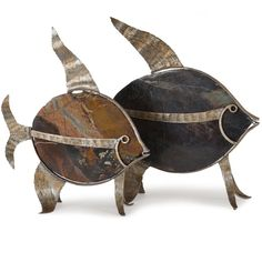 Small and Large Fossil Stone Angel Fish with metal accents,e ach sold separately #islandwayliving