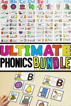 The Ultimate Phonics Bundle! Over 300 pages of activities and printables to teach all the letters of the alphabet and phonics! Literacy Activities, Teaching Resources, Teaching Ideas, Literacy Centers, Teaching Materials, Reading Strategies, Reading Comprehension, Kindergarten Classroom, Classroom Decor