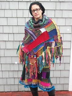 Harry and the hippe chic - Recycled Patchwork Sweater Poncho by harryandthehippechic $250.00