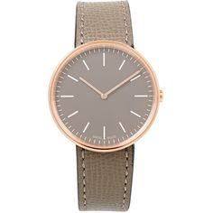 Uniform Wares Grey Leather Strap Rose-Gold M35 Watch ($290) ❤ liked on Polyvore featuring jewelry, watches, pink gold jewelry, rose gold watches, logo watches, quartz movement watches and red gold watches