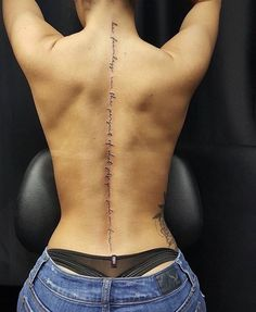 Lovely Women Back Tattoos Design Ideas With Classy Look - Some people who may want to have a tattoo but don't want a lot of people to see it may choose to have a lower back tattoo design applied that will sta. 42 Tattoo, Body Art Tattoos, Girl Tattoos, Girl Spine Tattoos, Tattoo Down Spine, Truth Tattoo, Tatoos, Thigh Tattoo Quotes, Arabic Tattoos