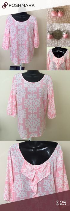Bundle Pink blouse and pink earrings Great condition. Earrings are new Tops Blouses