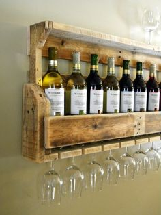 DIY Wine Rack with hanging place for glasses. Like how this one has a top shelf…