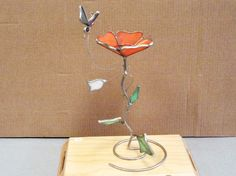 Vintage Leaded Stained Glass Flower by npebaysale on Etsy, $17.50