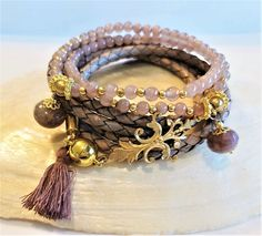 Leder- Perlenarmband - BALI - altrosa-golden Jade, Bracelets, Men, Jewelry, Fashion, Ear Rings, Beads, Semi Precious Beads, Leather Cord