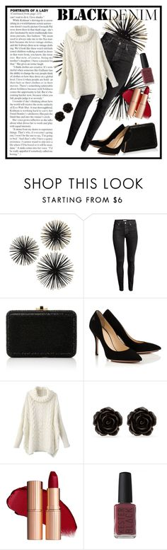 """Black Denim"" by missgrisalda ❤ liked on Polyvore featuring H&M, Judith Leiber, Erica Lyons and Kester Black"
