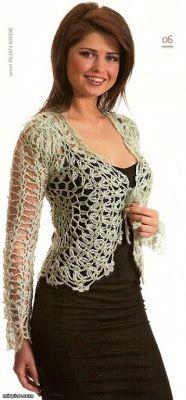 Una locura de ideas: Chaqueta calada tejida a ganchillo, elegante y bella.