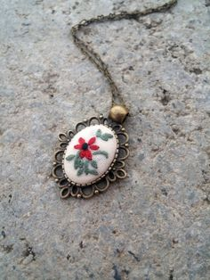 Vintage Style Red Flower Necklace, Pendant on Chain, Cute Necklace, Delicate Jewelry, Bohemian Necklace, Bridesmaid Jewelry by RedWorkStitches on Etsy