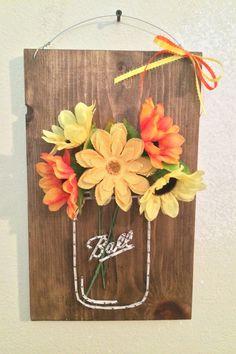 Mason Jar String Art with Flowers by SignsAndSuchCrafts on Etsy