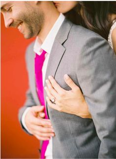 grey and hot pink wedding! love this color combo too. torn between hot pink and black wedding colors or hot pink and gray Wedding Men, Wedding Suits, Wedding Attire, Trendy Wedding, Dream Wedding, Wedding Styles, Diy Wedding, Pink Wedding Rings, Hot Pink Weddings
