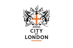 """City of London Logo Design The City of London has an incredible history, mirrored in it's crest-like, coat of arms logo design. Central to the mark is the St. George's Cross, the flag of England used since the crusades. Aside of it sits two dragons and above it, a Knight, again harking back to the historical nature of the emblem. As with many coat of arms, the Latin motto is included which translates as, """"O Lord Direct us""""."""