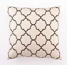 Moroccan Tile Embroidered Linen Pillow Collection