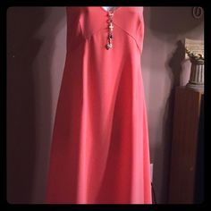 Coral, Calvin Klein dress💖 Only worn one time, sadly it's too big for me.Beautiful, yet simple, long dress (falls about mid-calf). Can dress it up with heels and jewelry, maybe a lace shrug, for a wedding or date-night😉. Or keep it simple with sandals and a denim jacket! ( there is some loose stitches on one strap, an easy fix, i just don't have this color of thread. Ask for pics if you want a close up). 12 inch side zipper for easy dressing. Calvin Klein Dresses
