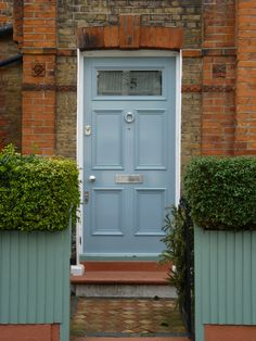 Blue Victorian front door with Banham locks Traditional Front Doors, Victorian Front Doors, Door Paint Colors, Front Door Design, Painted Doors, Locks, Entrance, Garage Doors, Shed