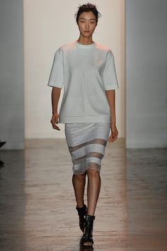 Peter Som Spring 2014 RTW. pencil skirt. boxy top. sheer inserts. greys. #PeterSom #Spring2014 #NYFW