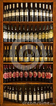 Bottled wines in a Greek cellar at the island of Lemnos, in northern Aegean, Greece.