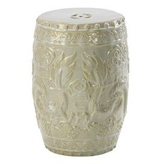 Shanghai Antique Ivory Pale Sage Frost Ceramic Garden Seat Stool