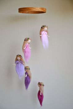 Waldorf inspired needle felted mobile The Pink and by MagicWool